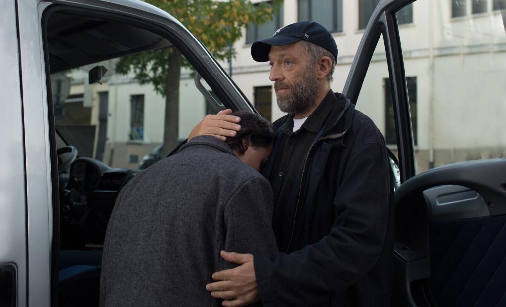 Burno (Vincent Cassel) comforting Joseph (Benjamin Lessieur).