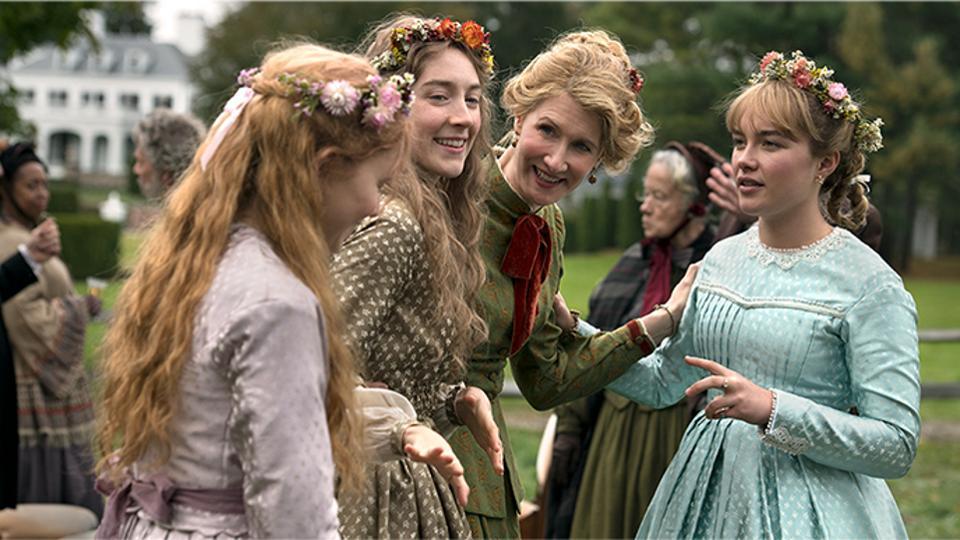 Three of the Marsh girls (Saoirse Ronan, Florence Pugh, Eliza Scanlen) with their mother (Laura Dern) at Meg's wedding.