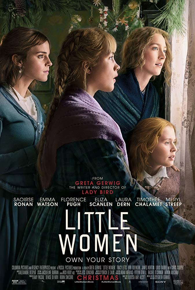 The film poster showing the four Marsh girls (Saoirse Ronan, Emma Watson, Florence Pugh, Eliza Scanlen) looking out a window.