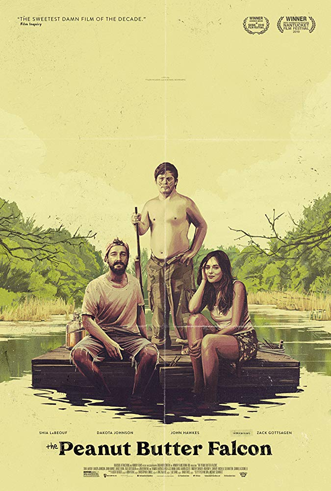 The film poster showing a drawing of Tyler (Shia LaBeouf), Zak (Zack Gottsagen) and Eleanor (Dakota Johnson) sitting on a raft.