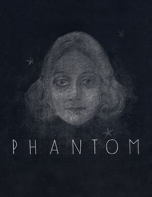 The film poster showing a drawing of a woman's face on a black background.