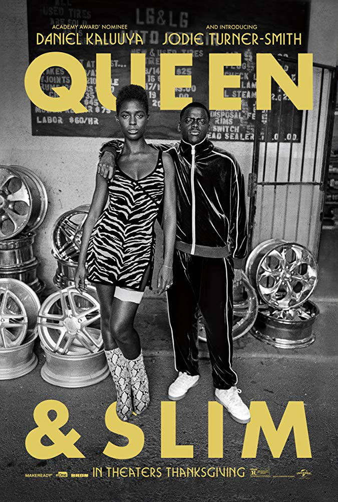 The film poster showing Queen (Jodie Turner-Smith) and Slim (Daniel Kaluuya) in a black-and-white image.