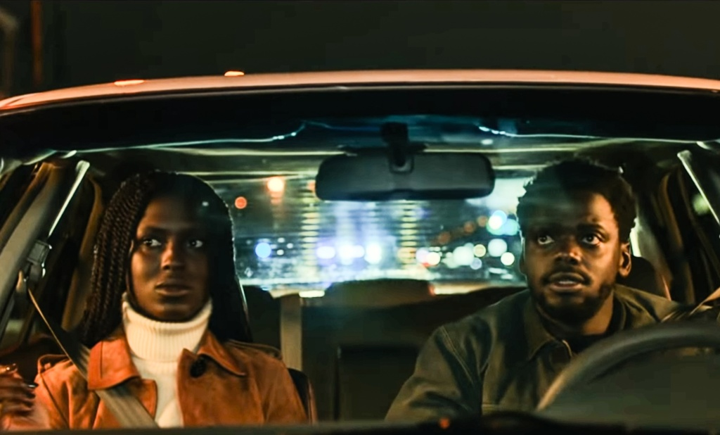 Queen (Jodie Turner-Smith) and Slim (Daniel Kaluuya) in a car.