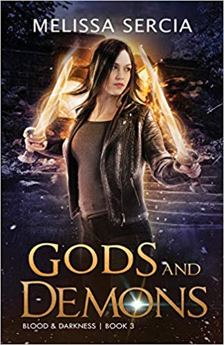 The book cover showing a dark-haired woman with two glowing swords.