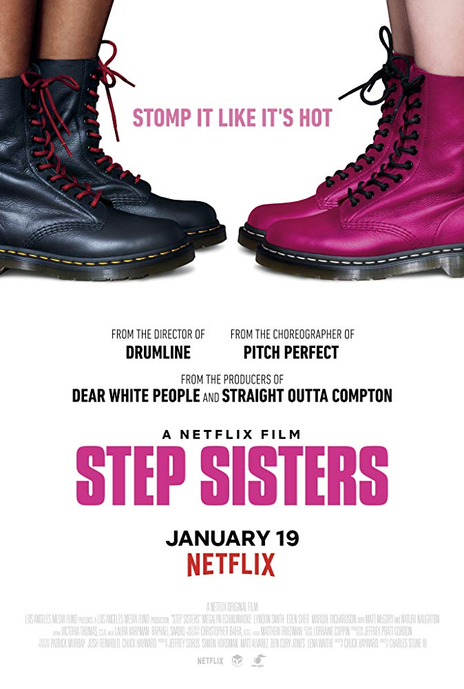 The film poster showing two pair of boots, one black, one pink.