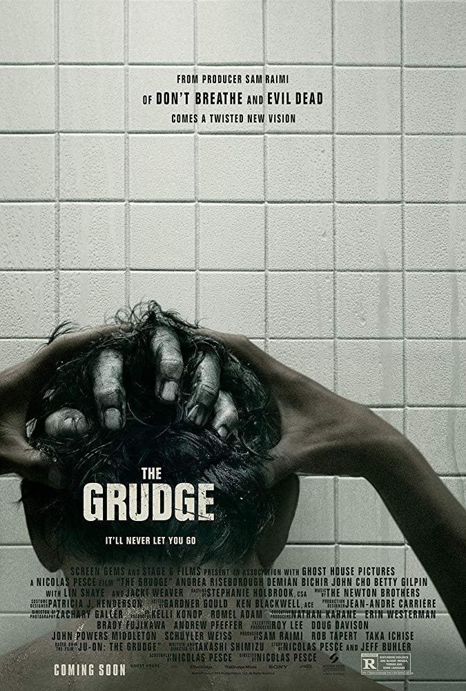 The film poster showing a hand coming out of the back of Peter's (John Cho) head as he takes a shower.