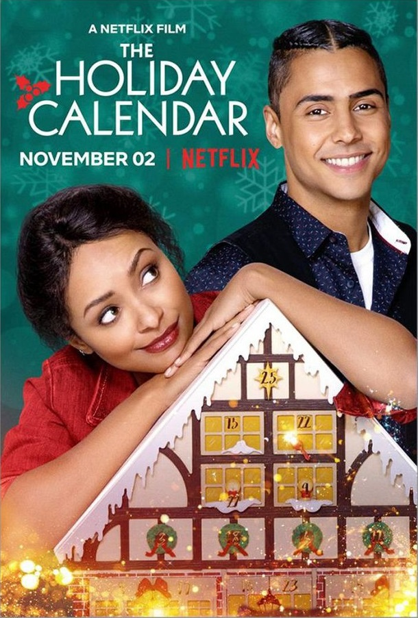 The film poster showing a young woman (Kat Graham) leaning on an advent calendar and a young man (Quincy Brown) standing behind her.