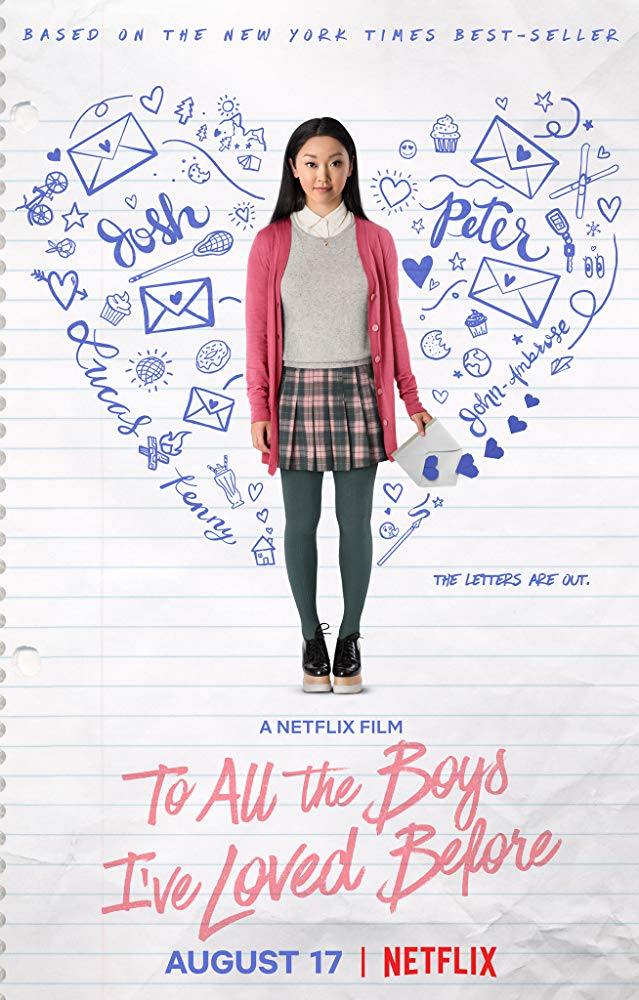 The film poster showing Lara Jean (Lana Condor) with a letter in her hand.