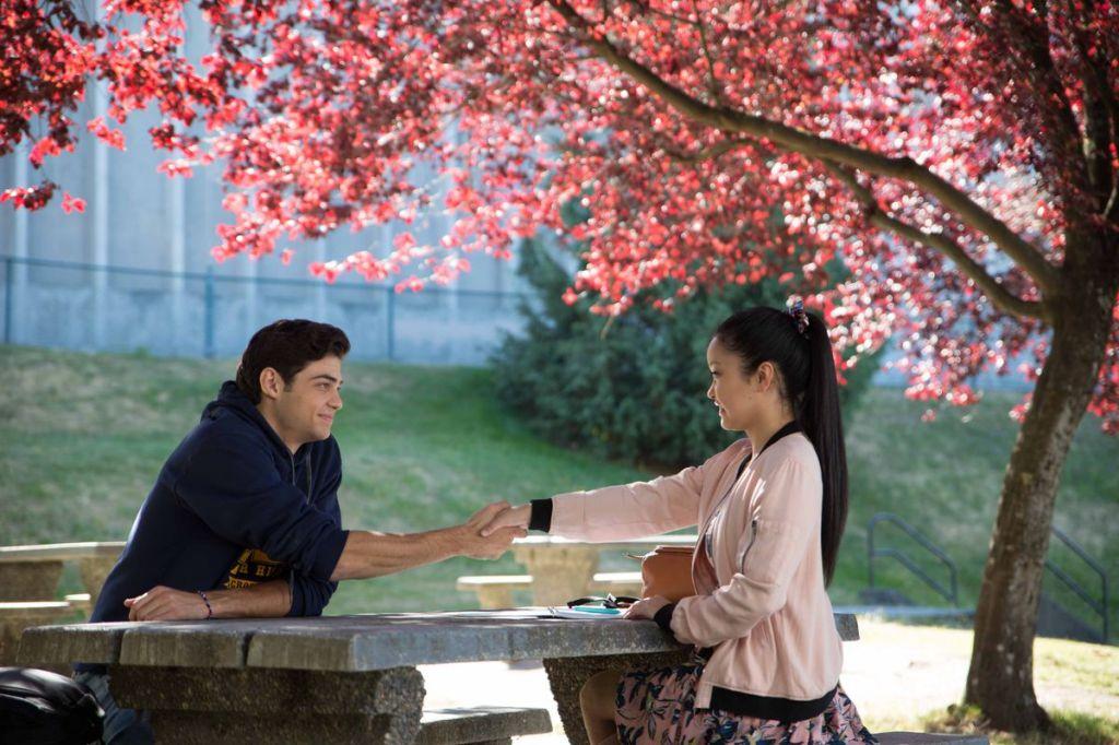 Peter (Noah Centineo) and Lara Jean (Lana Condor) striking a deal.