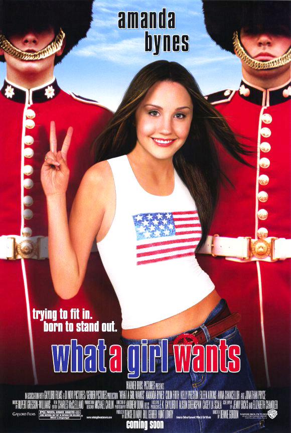 The film poster showing Daphne (Amanda Bynes) dressed in a shirt with the USA flag standing in front of two beefeaters.