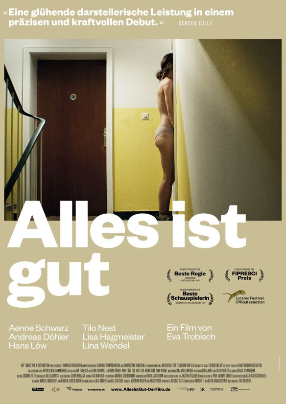 The film poster showing Janne (Aenne Schwarz) dressed only in panties, standing in the hallway of an apartment building.