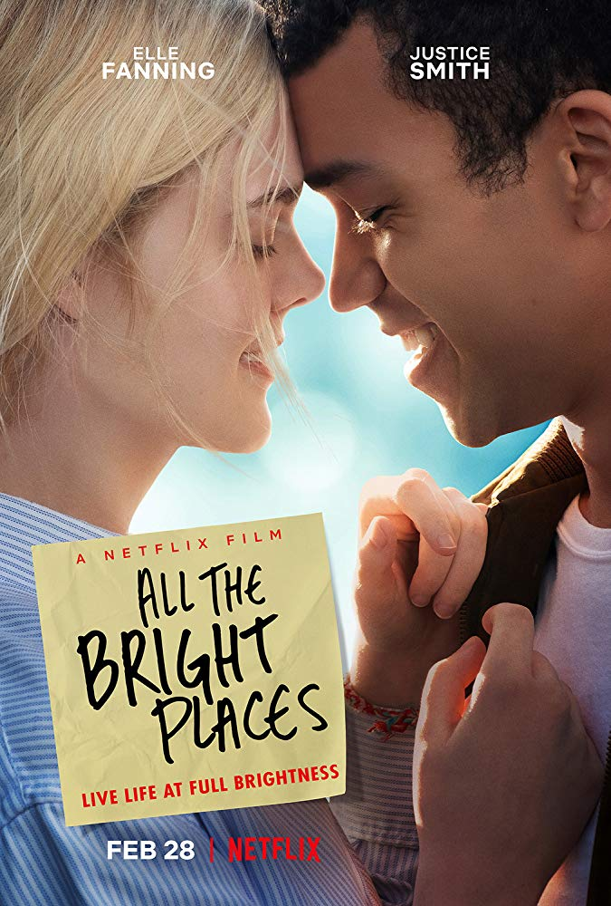 The film poster showing Violet (Elle Fanning) and Finch (Justice Smith) leaning in for a kiss.