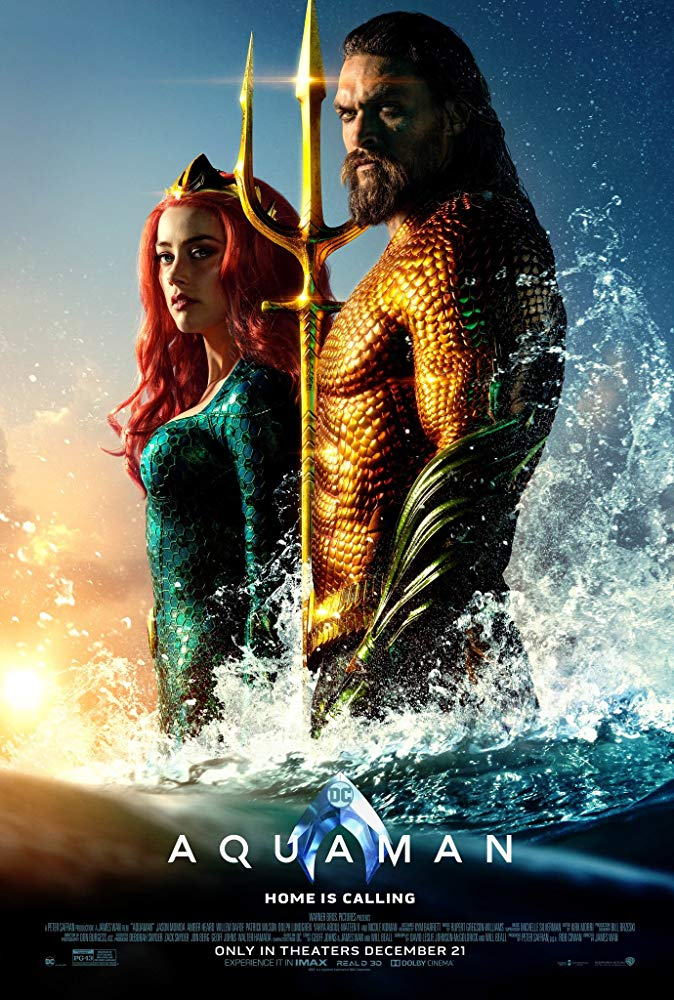 The film poster showing Arthur/Aquaman (Jason Momoa) with his trident, and Mera (Amber Heard).