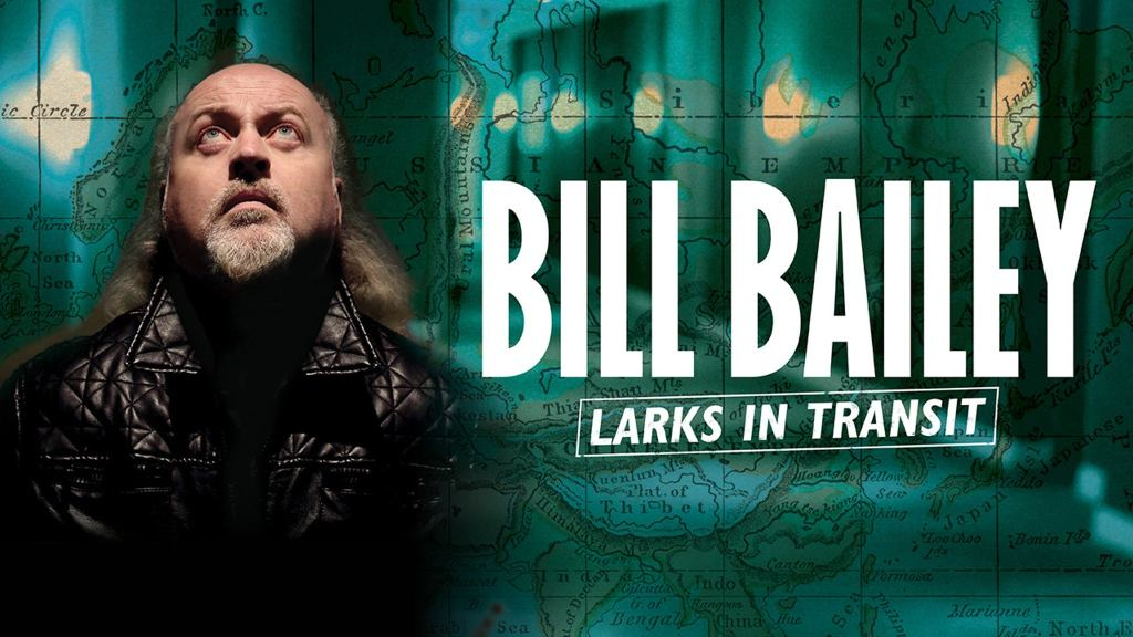 The show announcement showing Bill Bailey looking skywards in front of a green background with a superimposed map.