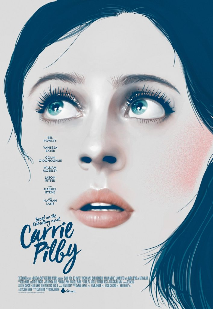 The film poster showing a drawing of Carrie's face, looking widely upwards.