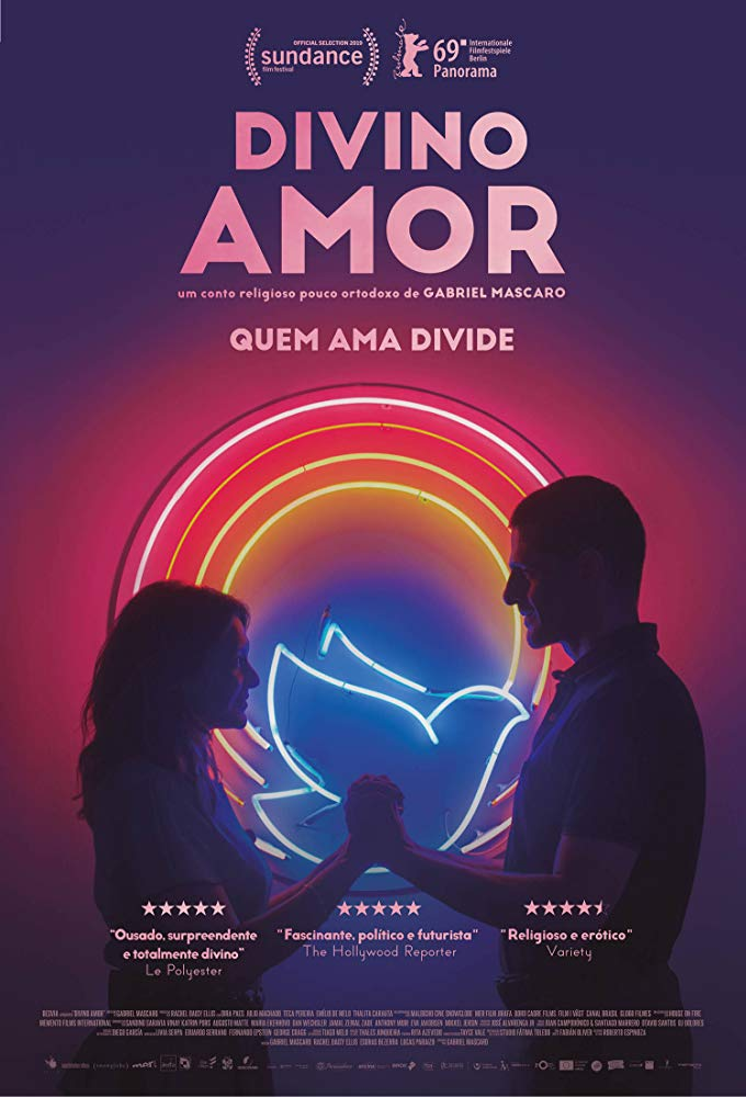 The film poster, showing Joana (Dira Paes) and Danilo (Julio Machado) holding their hands in front of a neon dove in several concentric circles.