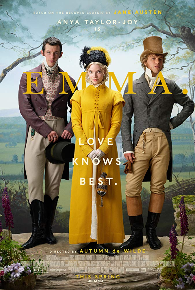 The film poster showing Emma (Anya Taylor-Joy), Frank Churchill (Callum Turner) and Mr. Knightley (Johnny Flynn).