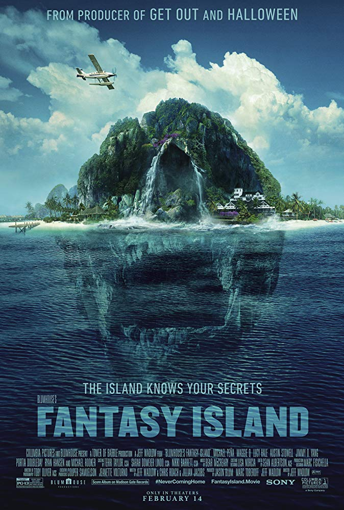 The film poster showing the island, creating the shape of a skull from afar.