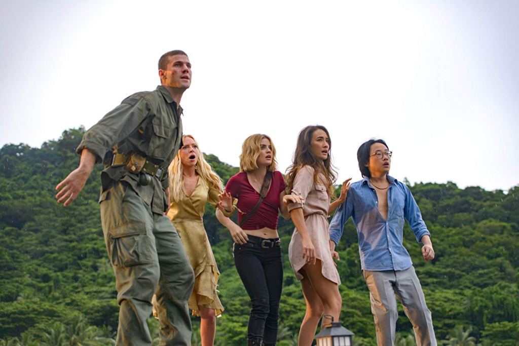 Patrick (Austin Stowell), Sloane (Patricia Doubleday), Melanie (Lucy Hale), Gwen (Maggie Q) and Brax (Jimmy O. Yang) on the run.