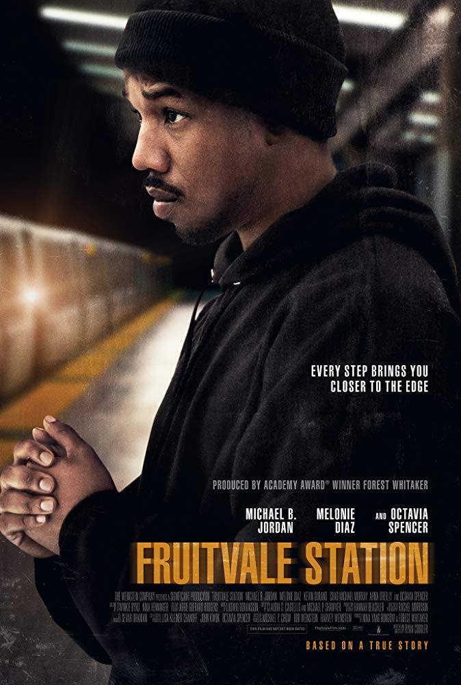 The film poster showing Oscar Grant (Michael B. Jordan) standing on a subway platform.