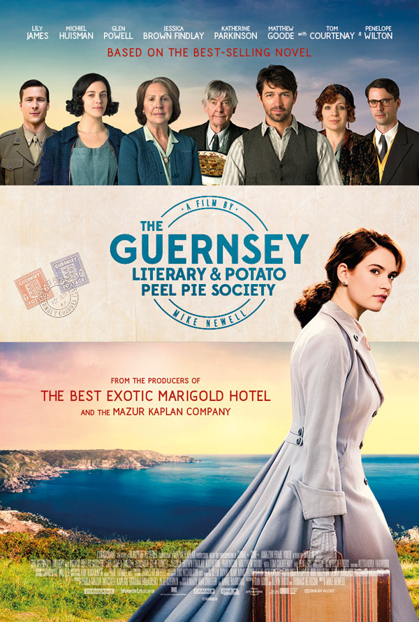 The film poster showing Juliet Ashton (Lily James) arriving on Guernsey.