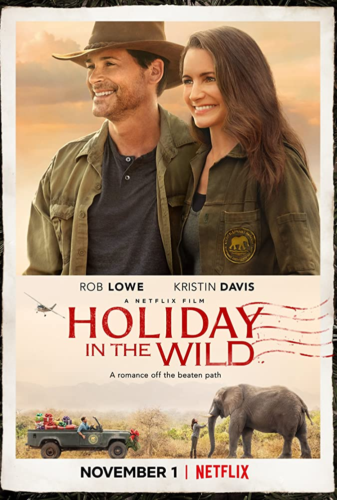 The film poster showing two images - Derek (Rob Lowe) and Kate (Kristin Davis) standing next to each other and Kate stroking an elephant.