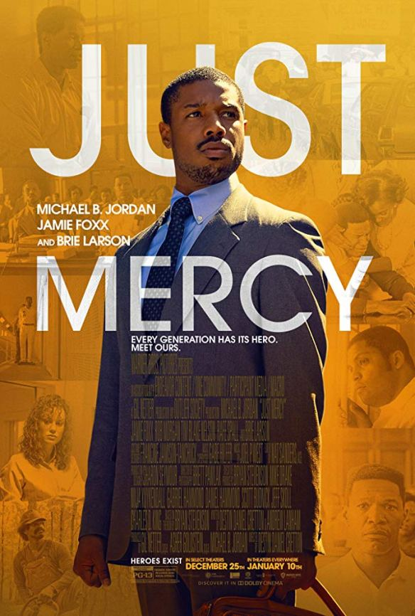 The film poster showing Bryan Stevenson (Michael B. Jordan) in front of an orange background with various film stills.