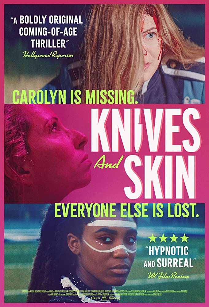 The film poster showing a young woman with a bloody head, a woman in profile in pink and a young woman with warrior paint in her face.