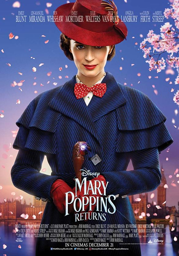 The film poster showing Mary Poppins (Emily Blunt).