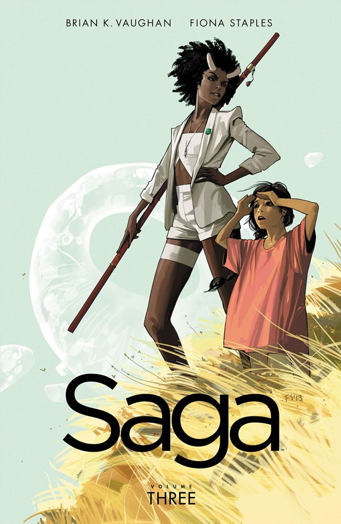The cover showing a woman with horns and a spear standing next to a child.
