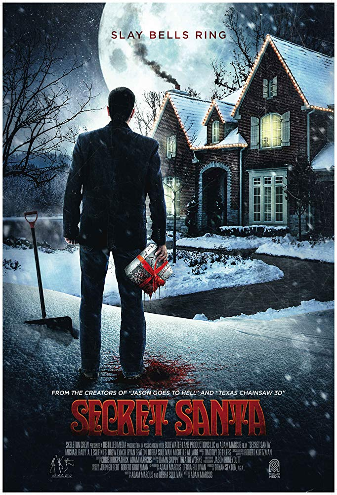 The film poster showing a man holding a bloody package standing in front of a house.