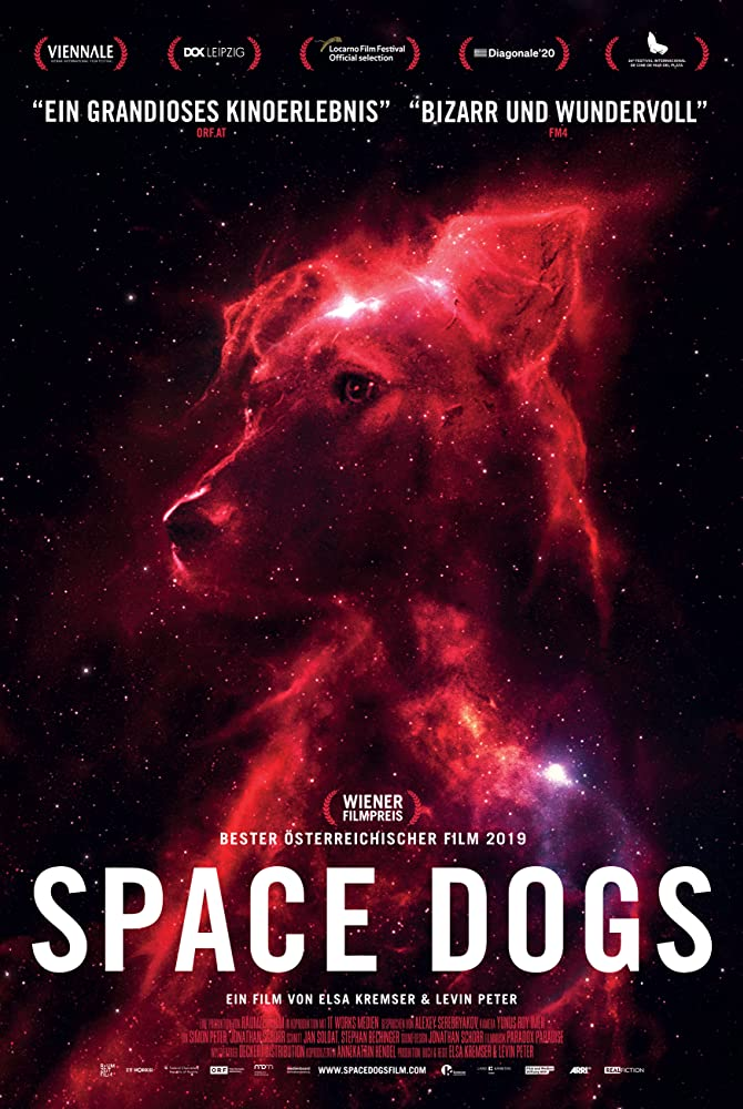 The film poster showing the image of a dog, made to look like a dog-shaped galaxy in front of a star-filled universe.
