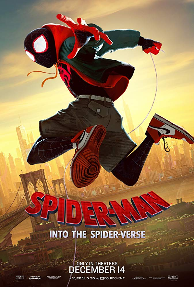 The film poster showing Miles Morales (Shameik Moore) as Spider-Man jumping high over the skyline of New York.