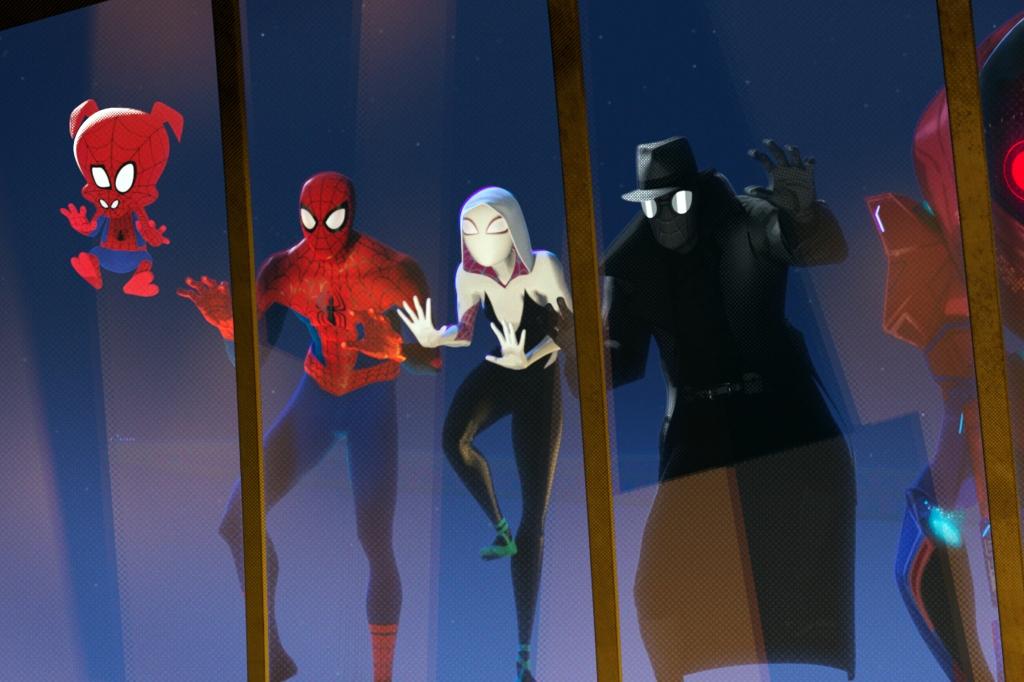 Spider-Ham (John Mulaney), Peter Parker (Jake Johnson), Spider-Gwen (Hailee Steinfeld) and Spider-Man Noir (Nicolas Cage) looking through a window.