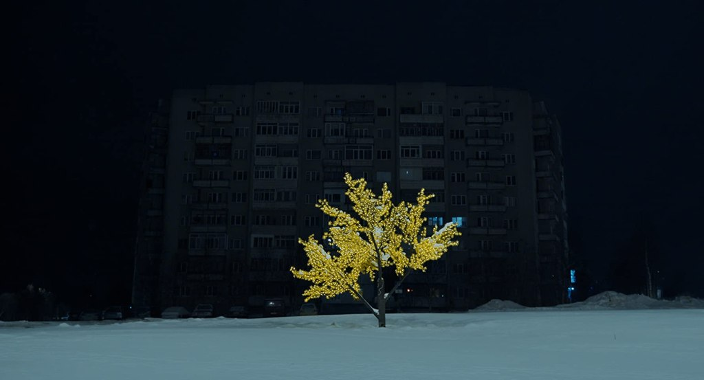 A tree decorated with lights in the darkness in front of a huge apartment complex.
