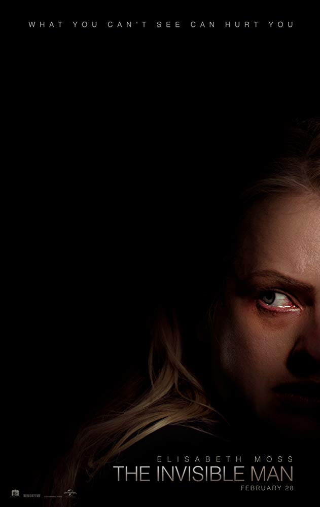 The film poster showing Cecilia (Elisabeth Moss) looking at something behind her where there is only darkness.