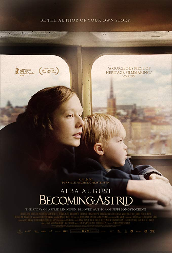 The film poster showing Astrid Lindgren (Alba August) and her son on a train.