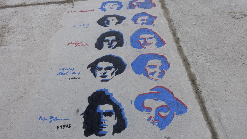 Streetart showing the faces of famous women who resisted.
