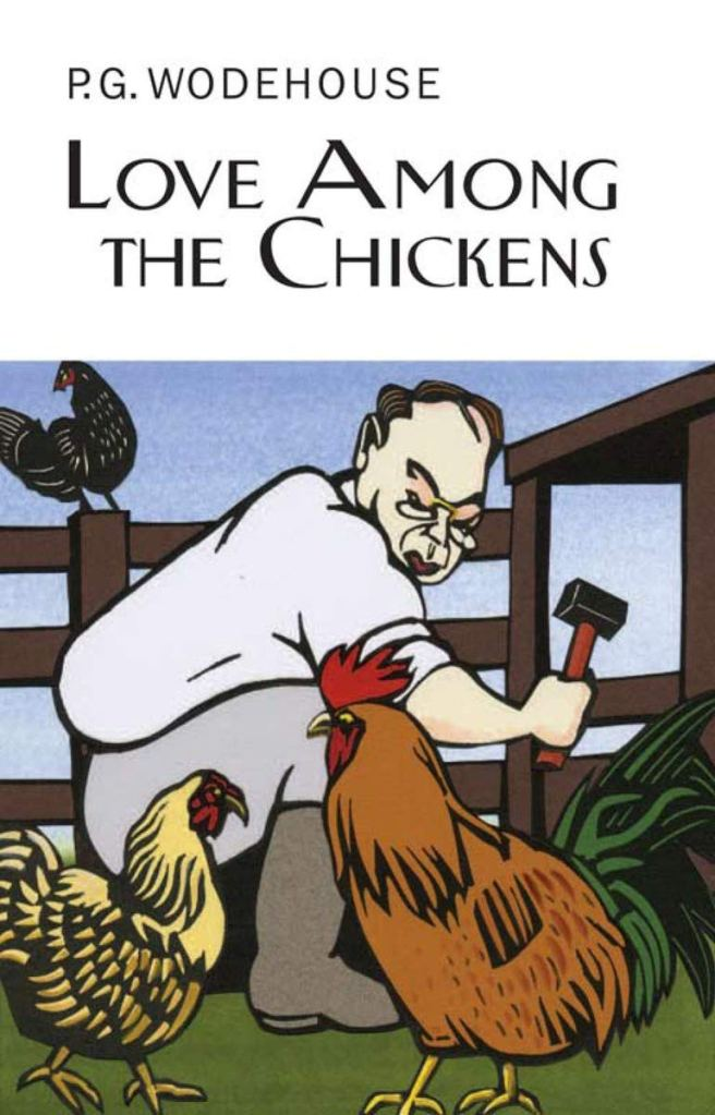 The book cover showing a drawing of a man working on a chicken shed, surrounded by chickens.
