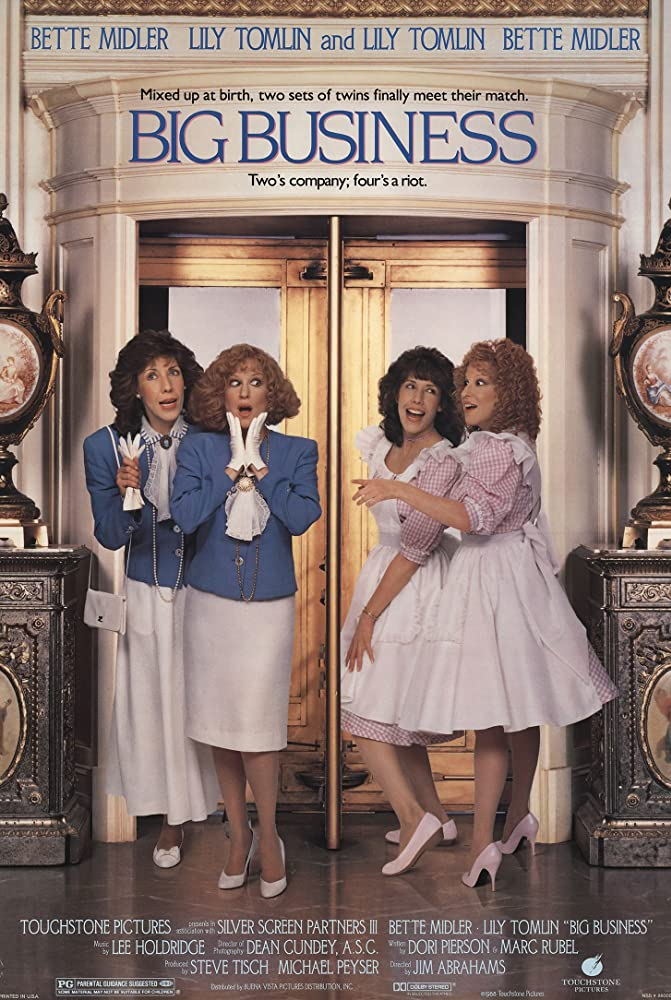 The film poster showing Rose (Lily Tomlin) and Sadie Shelton (Bette Midler) on one side and Rose (Lily Tomlin) and Sadie Ratcliff (Bette Midler) on the other side.