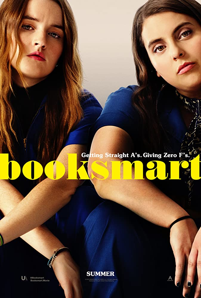The film poster showing Molly (Beanie Feldstein) and Amy (Kaitlyn Denver) in matching overalls.