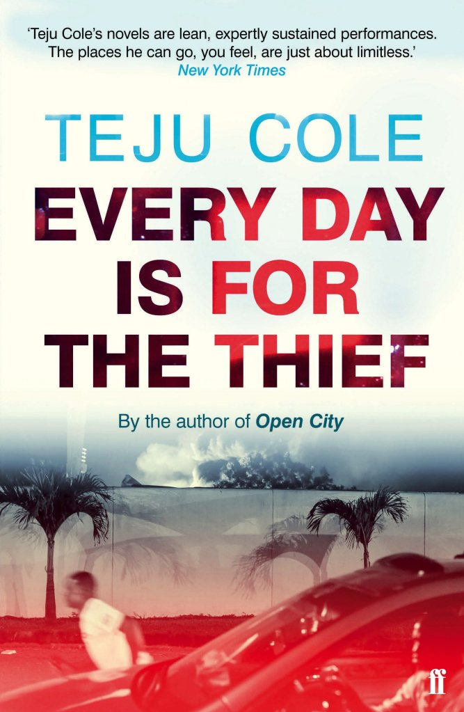 The book cover showing a man running on a street next to a car.