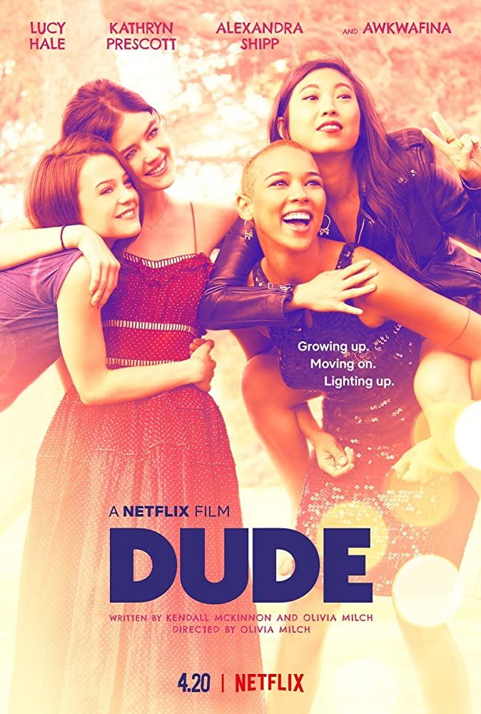 The film poster showing Chloe (Kathryn Prescott), Lily (Lucy Hale),  Amelia (Alexandra Shipp) and Rebecca (Awkwafina) hugging each other.