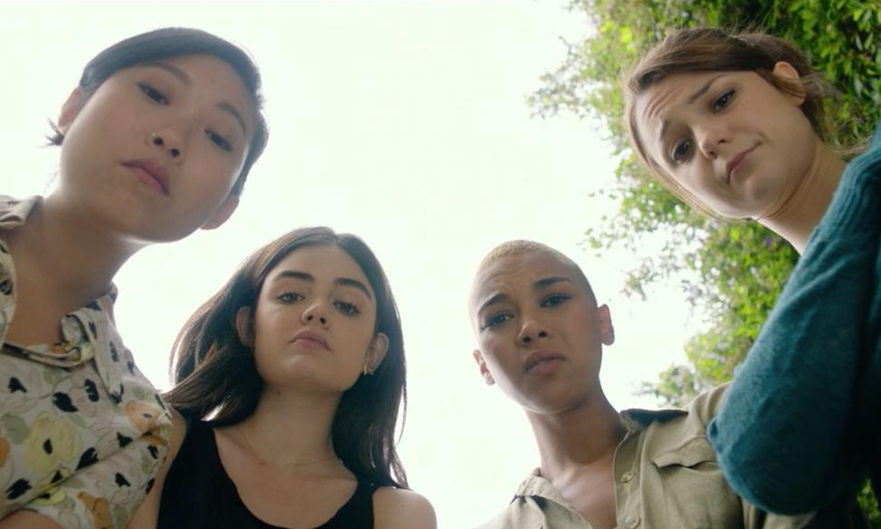 Rebecca (Awkwafina), Lily (Lucy Hale), Amelia (Alexandra Shipp) and Chloe (Kathryn Prescott) looking down into the camera.
