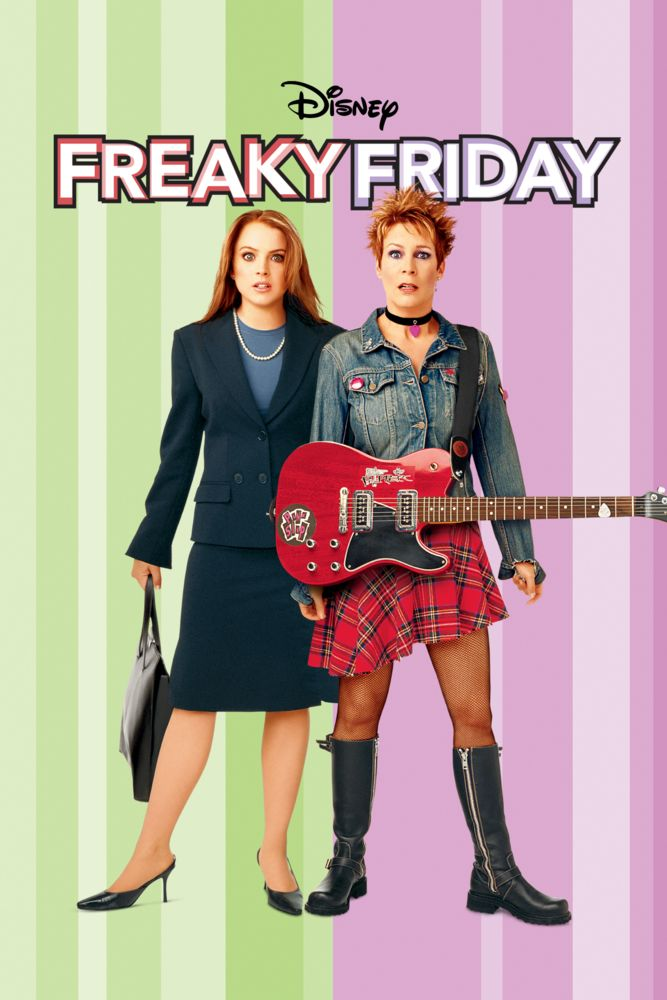 The film poster showing Anna (Lindsay Lohan) dressed all business-like and Tess (Jamie Lee Curtis) in a rock get-up, both with shocked facial expressions.