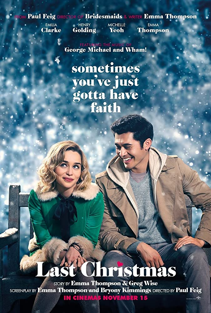 The film poster showing Kate (Emilia Clarke) and Tom (Henry Golding) on a park bench.
