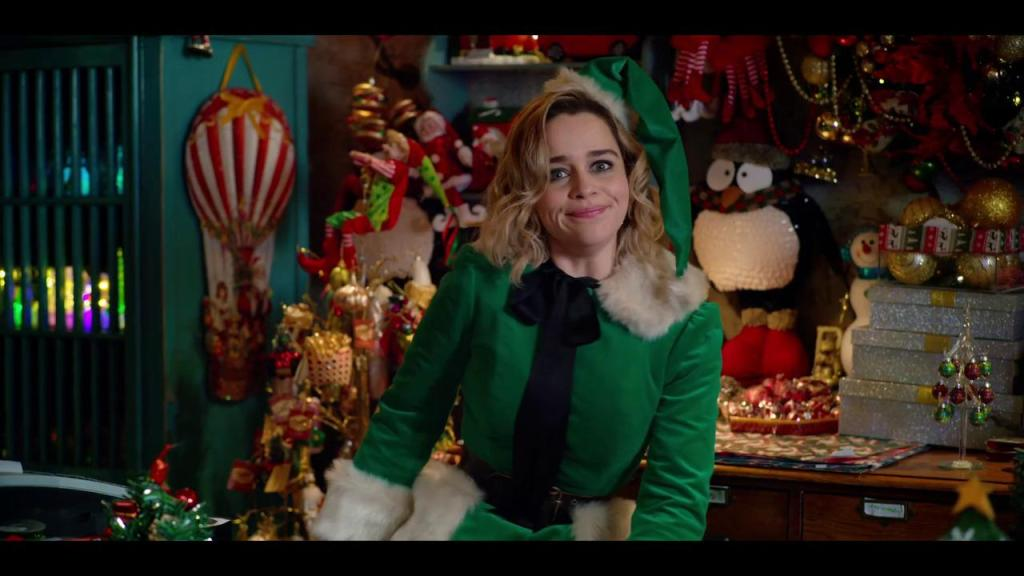 Kate (Emilia Clarke) in full elf get-up at the Christmas store.