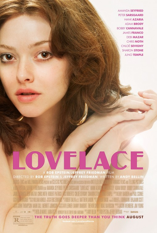 The film poster showing Linda Lovelace (Amanda Seyfried) apparently naked, looking at the camera, her armes folded in front of her chest.