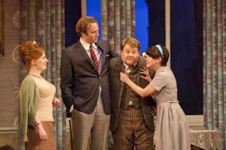 Stanley (Oliver Chris) and Rachel (Jemima Rooper) putting pressure on Frances (James Corden) as Dolly (Suzy Toase) watches.