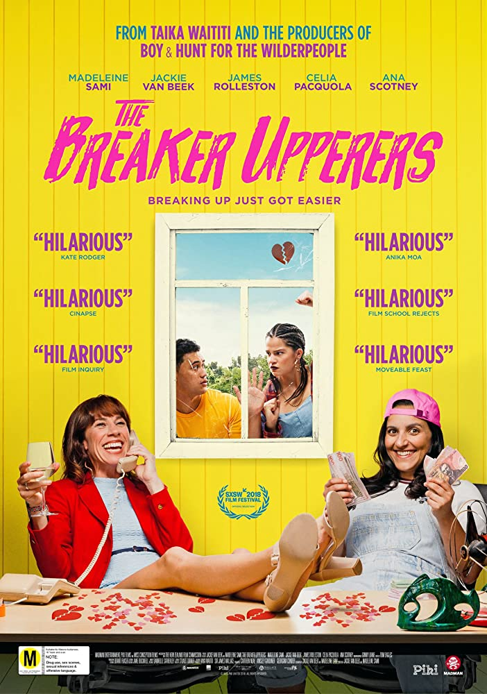 The film poster showing Mel (Madeleine Sami) and Jen (Jackie van Beek) sittingat a desk with champagne and cash. Behind them Jordan (James Rolleston) and Sepa (Ana Scotney) look in through a window.